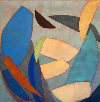 ABSTRACT IN BLUE, CREAM, AND ORANGE, KATE MCGUINNESS