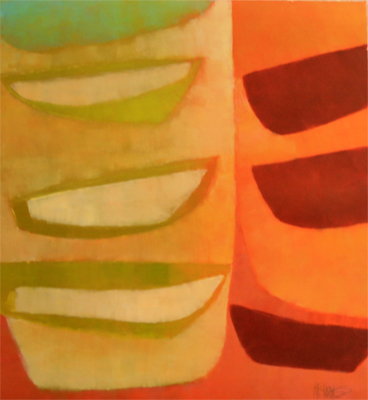ABSTRACT IN LIME ORANGE AND RED, KATE MCGUINNESS