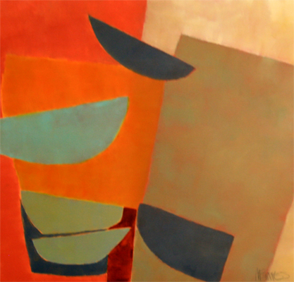ABSTRACT IN RED, ORANGE, BLUE AND BROWN, KATE MCGUINNESS