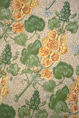 GOLDEN CABBAGE ROSES ON VINES, ANTIQUE ART