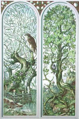 TREES WITH HAWK, ANTIQUE ART