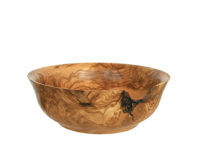 SHALLOW TURNED WOOD BOWL W/ INCLUSIONS, OLIVE, BILL BAHRET