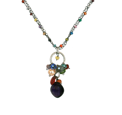 GEMSTONE ROSARY AND CHARM NECKLACE WITH AMETHYST, ANNA BALKAN