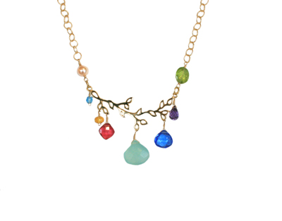 GOLD BRANCH AND BEZELED GEMS NECKLACE - CHALCEDONY, ANNA BALKAN