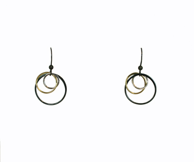 THREE TONE LINKS EARRINGS - SHORT, ANNA BALKAN