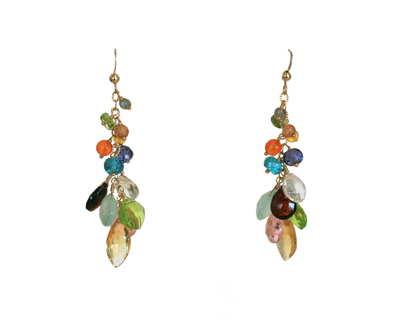 CITRINE DROP EARRINGS, GOLD, ANNA BALKAN