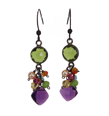 PERIDOT & AMETHYST DROP EARRINGS, ANNA BALKAN