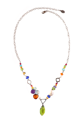 PERIODT MARQUEE & MIXED GEMSTONE NECKLACE, ANNA BALKAN