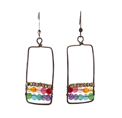 RECTANGLE W/ MIXED JEWELTONE GEMSTONE EARRINGS, ANNA BALKAN