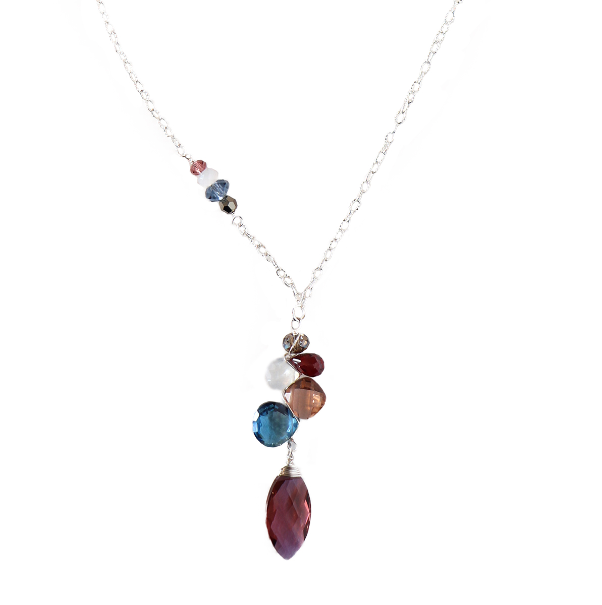 MARSALA QTZ MARQUEE W/ MIXED GEMSTONE NECKLACE, ANNA BALKAN