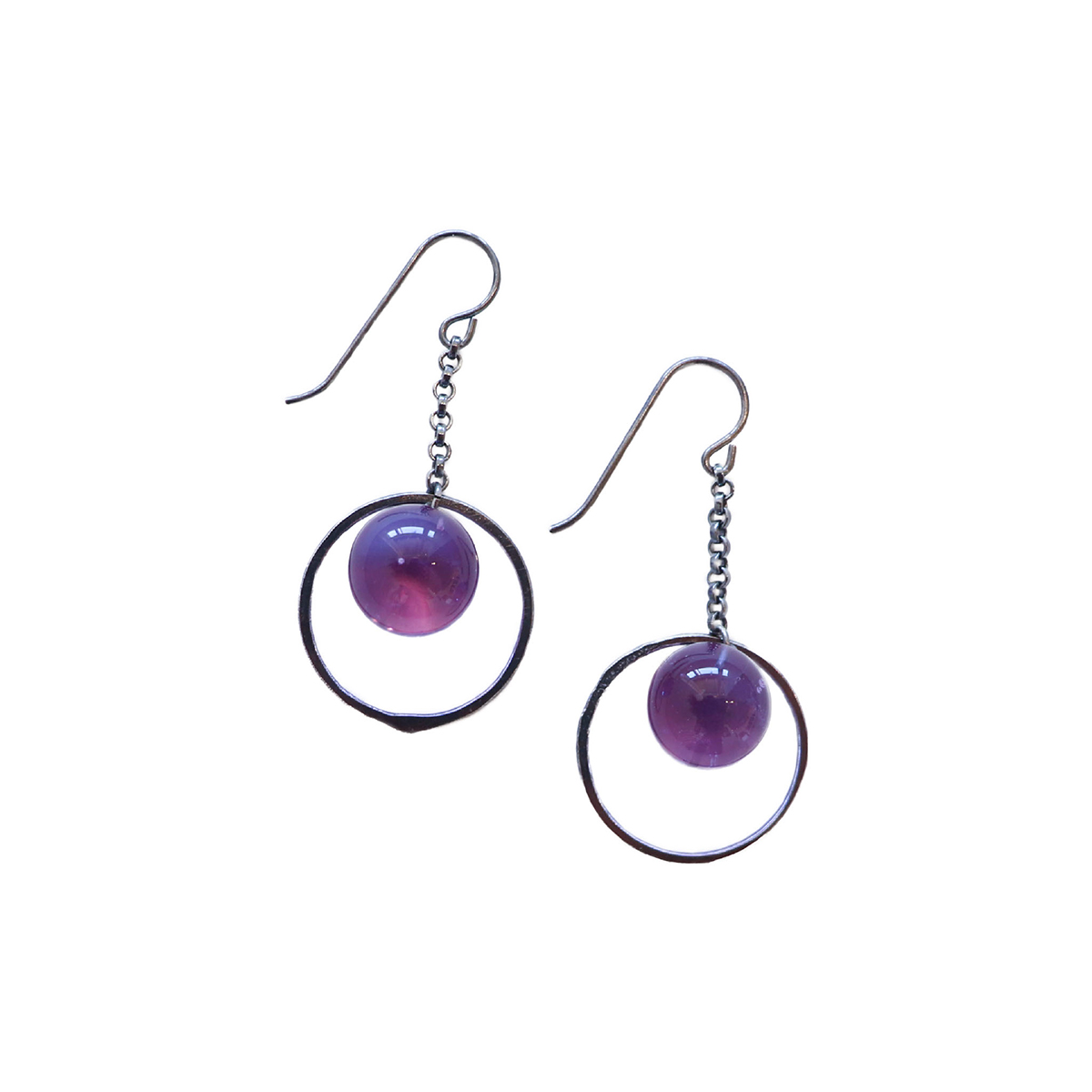 KRISTA BERMEO - LAVENDER HOOP GLOBE EARRINGS - GLASS