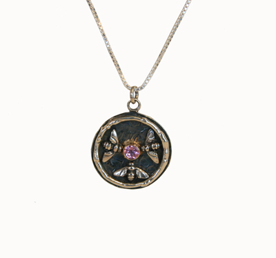 THREE BEES W/ 14K PINK SAPPHIRE PENDANT ON SILVER NECKLACE, MICHELENE BERKEY