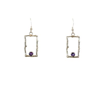 RECTANGLE TWIG EARRINGS WITH AMETHYST, MICHELENE BERKEY
