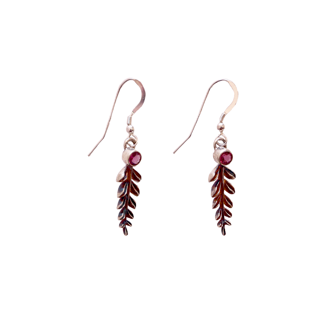 MICHELENE BERKEY - SMALL LEAF EARRINGS WITH RUBELITE - SILVER