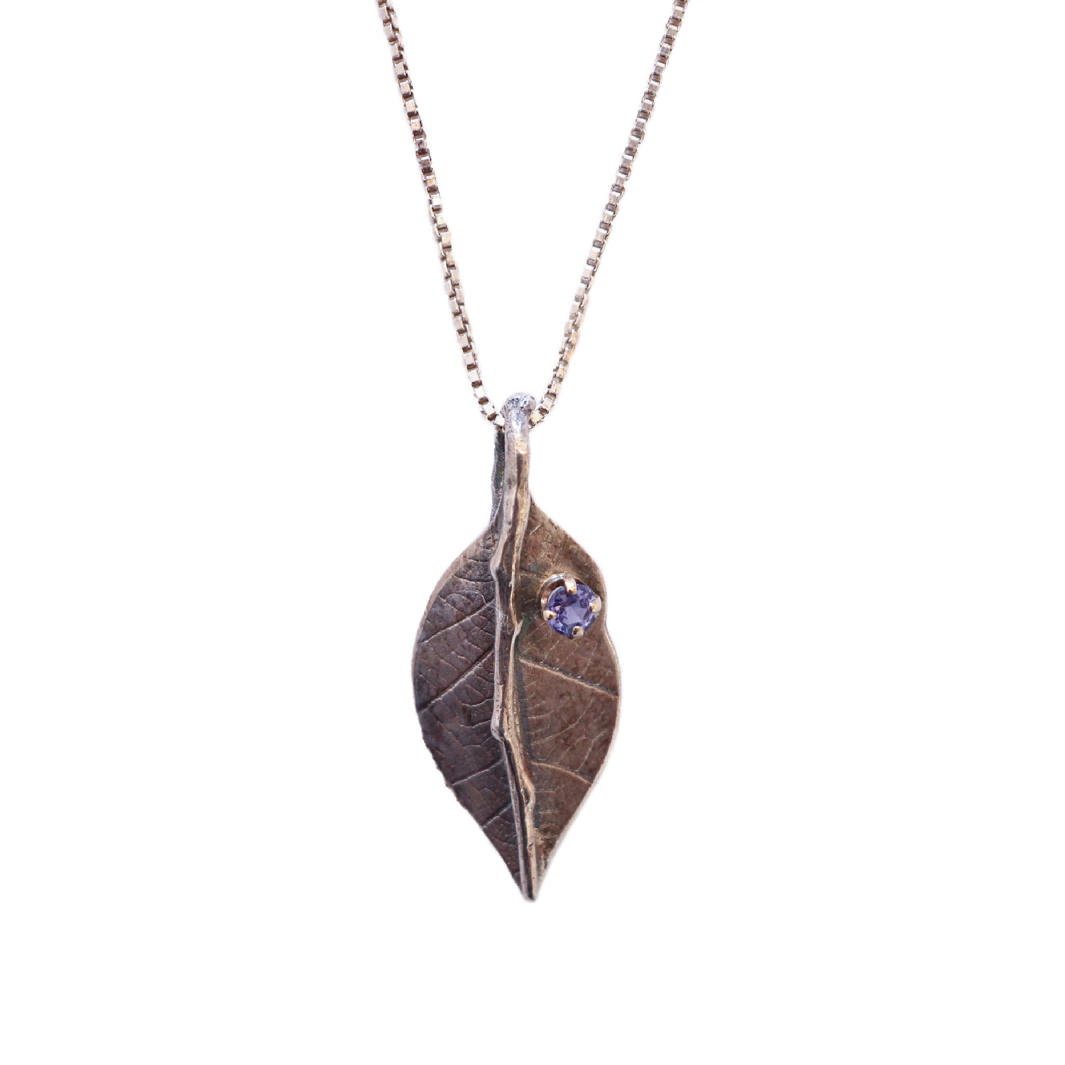 LEAF PENDANT NECKLACE WITH 14K TANZANITE, MICHELENE BERKEY