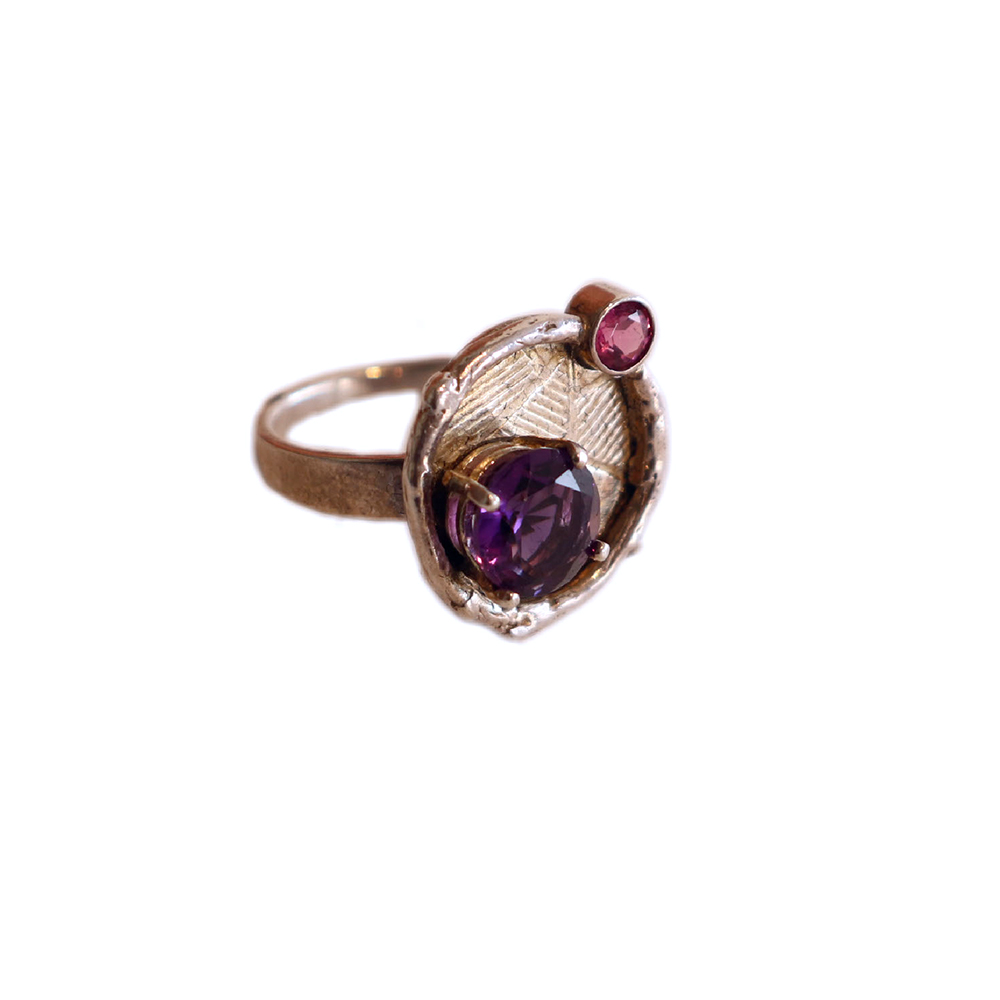 DISC RING W/ AMETHYST & TOURMALINE, MICHELENE BERKEY