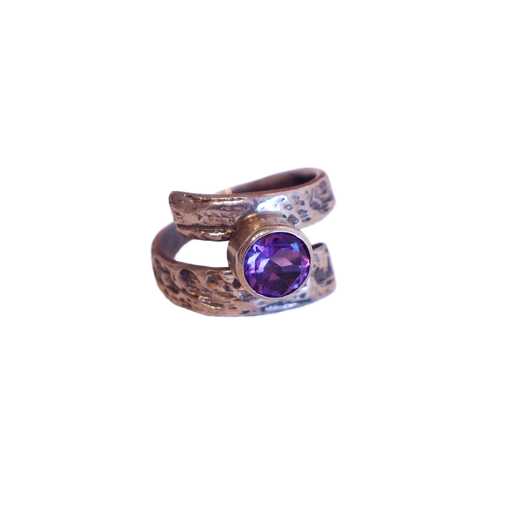 BY-PASS RING W/ 8MM AMETHYST, MICHELENE BERKEY