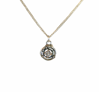 SMALL CIRCLE TWIG NECKLACE W/ .25CT DIAMOND, 14K SETTING, MICHELENE BERKEY