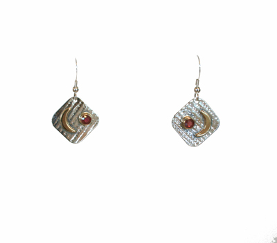 SQUARE EARRINGS W/ 14K MOONS & RUBIES, MICHELENE BERKEY