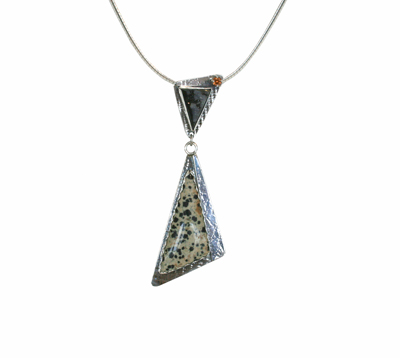 DALMATION JASPER DRUSY & HONEY ZIRCON NECKLACE, MICHELENE BERKEY