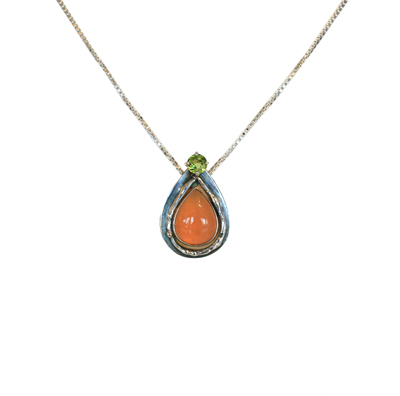 TEAR DROP PENDANT, PERIDOT AND ORANGE OPAL, MICHELENE BERKEY