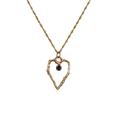 OPEN GOLD TWIG HEART NECKLACE W/ SAPPHIRE, MICHELENE BERKEY