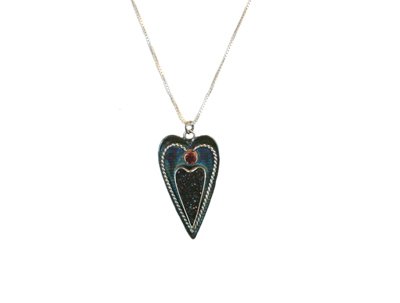 LONG OXIDIZED HEART NECKLACE W/ DRUZY QUARTZ & PINK TOURMALINE, MICHELENE BERKEY