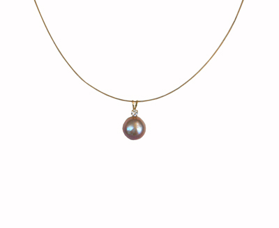 PINK PEARL & DIAMOND NECKLACE W/ GOLD-FILL CHAIN, MICHELENE BERKEY