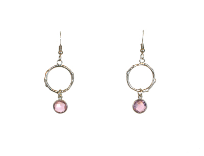 ROUND TWIG EARRINGS - OPEN WITH PINK QUARTZ DROP, MICHELENE BERKEY