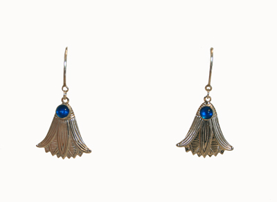 SILVER LILY EARRINGS W/ LONDON BLUE TOPAZ, MICHELENE BERKEY