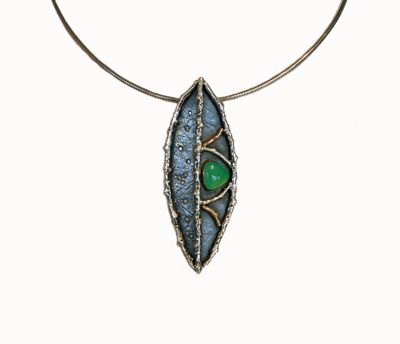 LEAF PENDANT, CHRYSOPRASE, 18K, 24K AND 14K GOLD FUSED TO SILVER, .50 WHITE BRILLIANT DIAMONDS, MICHELENE BERKEY