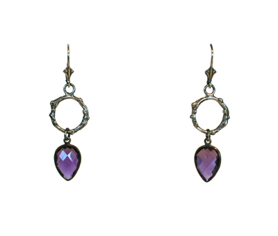 OXIDIZED SILVER TWIG EARRINGS WITH PURPLE QUARTZ, MICHELENE BERKEY