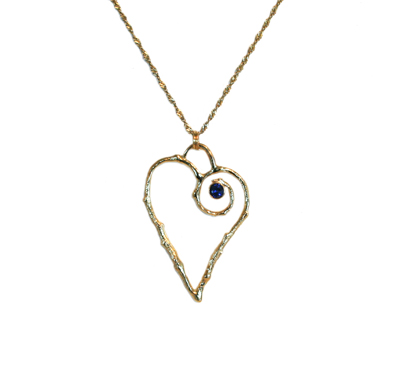 14K GOLD TWIG HEART WITH SAPPHIRE NECKLACE, MICHELENE BERKEY