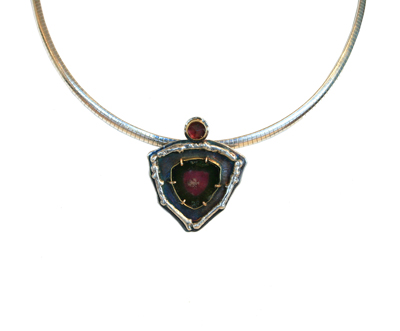 14K RUBELITE & 22K WATERMELON TOURMALINE NECKLACE, MICHELENE BERKEY