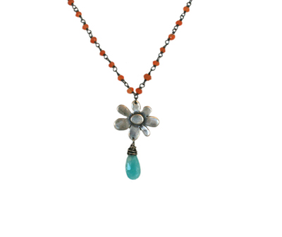 CARNELIAN BEADED NECKLACE WITH FLOWER PENDANT AND ALEXANDERITE, KAREN BOELTS