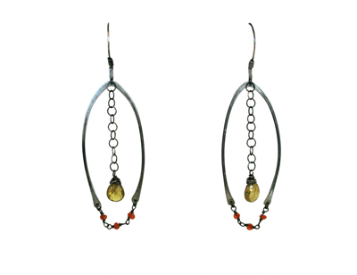 WISHBONE EARRINGS WITH CARNELIAN AND PERIDOT, KAREN BOELTS