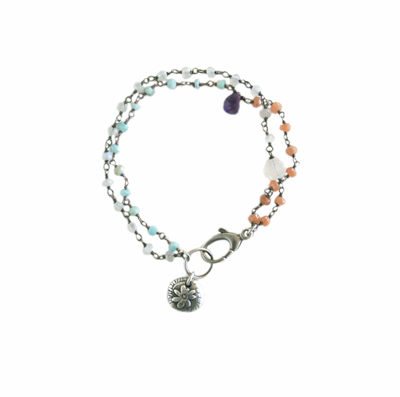SPRING COLORS BEADED BRACELET WITH FLOWER PENDANT, KAREN BOELTS