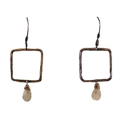 OXIDIZED SQUARE EARRINGS W/ MOONSTONE & GOLD FILL WIRE WRAP, KAREN BOELTS