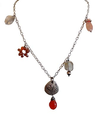 LOVE WINS NECKLACE W/ CARNELLIAN & LABRADORITE, KAREN BOELTS
