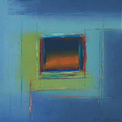 ABSTRACTED BLUE & GREEN SQUARE, DON BRADSHAW
