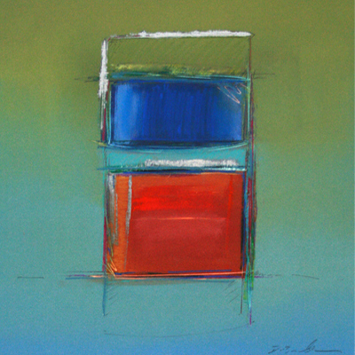 ABSTRACED GREEN SQUARE W/ RED, BLUE & TEAL, DON BRADSHAW