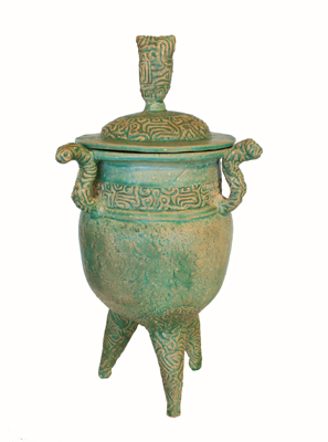 TALL URN ON LEGS WITH LID, GRACE CHANG