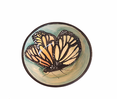 TEAL/GREEN BUTTERFLY BOWL, MARIA COUNTS