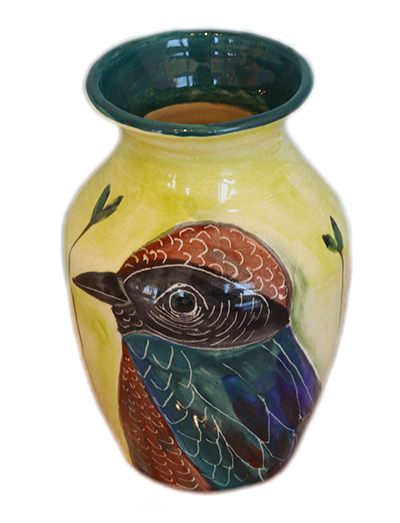 BIRD VASE W/GREEN RIM, MARIA COUNTS
