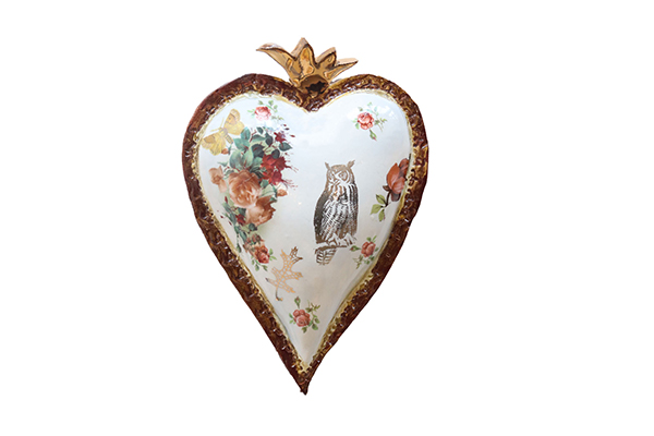 WHITE HEART W/ OWL & FLOWERS, MARIA COUNTS