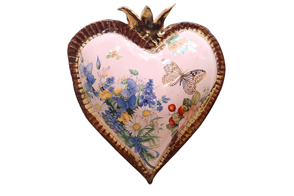 PINK HEART W/ BUTTERFLY, BLUE/WHITE FLOWERS, MARIA COUNTS
