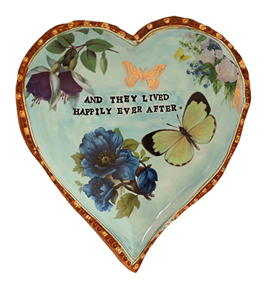 BLUE HEART WITH FLOWERS & BUTTERFLIES, MARIA COUNTS