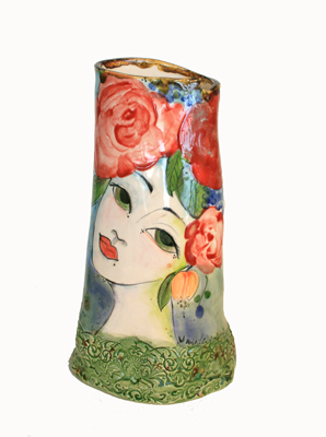 MEDIUM VASE WITH LADY & RED ROSES & GREEN BASE, MARIA COUNTS
