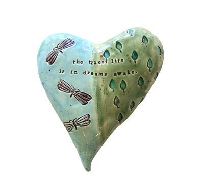 BLUE & GREEN HEART WITH DRAGONFLIES & LEAVES