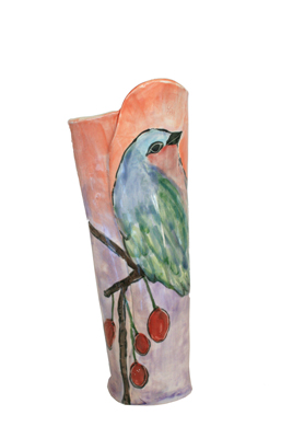 ORANGE/PURPLE BIRD VASE W/ CHERRIES, MARIA COUNTS